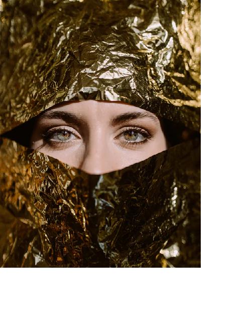 Lady in aluminium foil